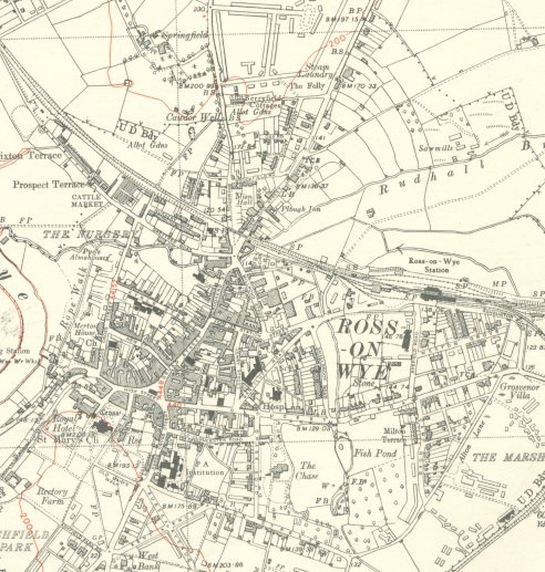 Ross-on-Wye from a 1952 OS map