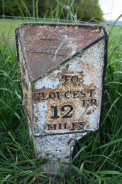 Lea (Lea Parish) mile marker - 12 miles to Gloucester
