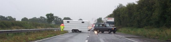A vehicle turning on the M50 (20-07-07)