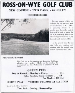 Advert for the Golf Club in 1966
