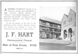Harts the Chemist advert 1952