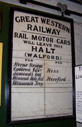 Walford Halt destination board