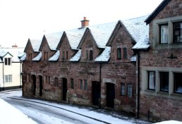 Alms Houses in the snow