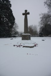 Snow around the War Memorial