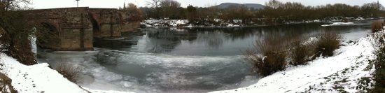 Ice on the River Wye below Wilton Bridge