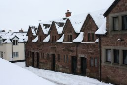 The Alms Houses in the snow