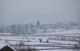 The view of Weston-under-Penyard in the snow