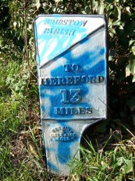 Bridstow Parish mile marker - 13 miles to Hereford