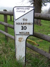 Hentland Parish mile marker - 10 miles to Hereford