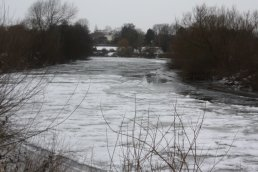 Ice on the River Wye looking towards Wilton