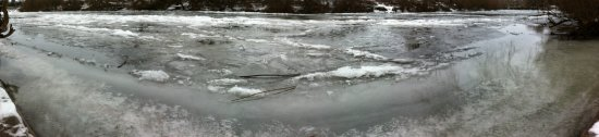 Ice on the River Wye at the canoe launch below the Hope and Anchor
